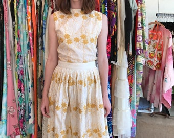 1960's Cotton Embroidered Shell and Pleated Skirt