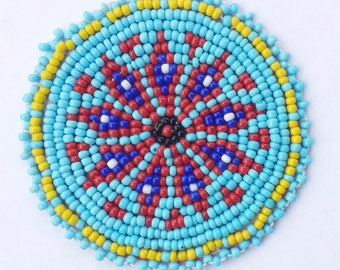 2 inch FLOWER BLUE Beaded Rosette