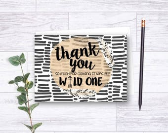 Wild One Thank You Card, Aztec Birthday Thank You Card, Tribal Thank You Card, 1st Birthday, Thank You Card,  Printable or Print