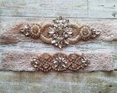 Sale -Wedding Garter and Toss Garter-Crystal Rhinestones & Pearls with Rose Gold Setting - BLUSH Garter Set - Style G37001RG