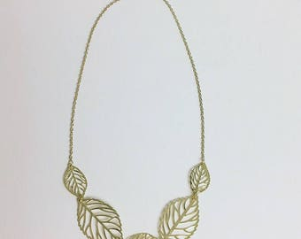 Gold Leaves Statement Necklace