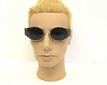 Vintage Sunglasses / Italian Sunglasses / Sergio Tacchini glasses / 70s sunglasses / silver deco frame /