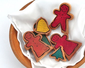 Doll Christmas Cookies Play Set - Cookies, Play Silk Napkin and Wooden Bowl - Waldorf Doll