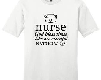 Nurse Gift God Bless Those Who are Merciful Matthew 5:7 Young Men's T-Shirt DT6000 - OD-965