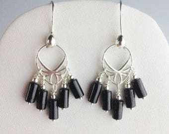 Black Spinel Earrings - Black jewelry - Black Spinel jewelry - Black earrings - Chandelier earrings - Artisan jewelry - Black Widow