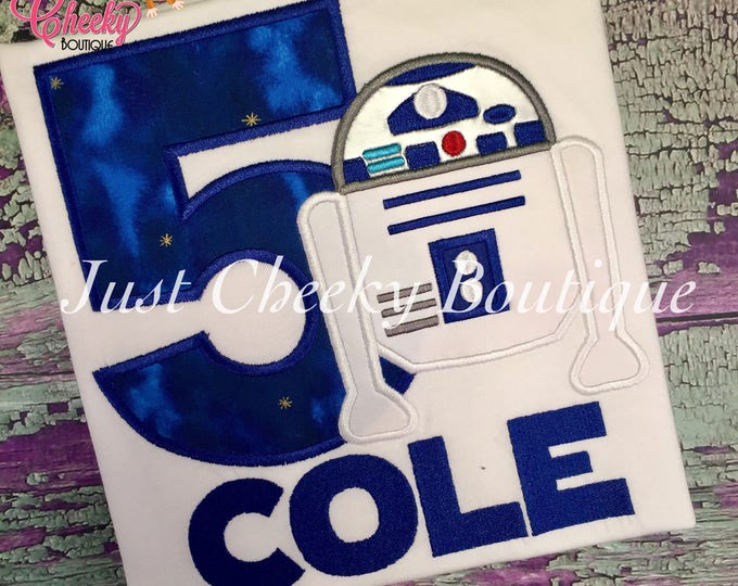 R2D2 Inspired - Star Wars Inspired - Kids Embroidered Shirt - Force Friday Shirt - The Force Awakens - Star Wars Birthday Shirt