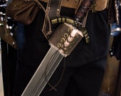 Medieval leather scabbard with fur for the belt for LARP, action roleplaying and cosplay