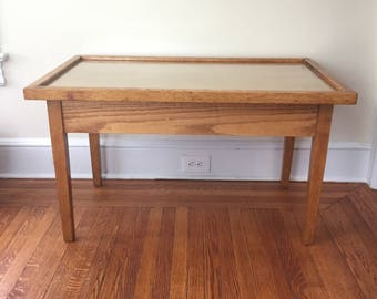 Tall Vintage Modern Oak Coffee Table