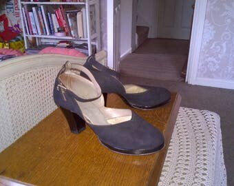 1940s Shoes, CC41 Utility mark black suede ankle strap shoes by Mansfield , size 4 and a half UK