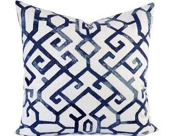 Two Blue Pillow Covers - Geometric Pillow Sham - Blue Throw Pillow - Blue Decorative Pillow - Navy Pillow Cover - Navy Pillow Sham - Custom