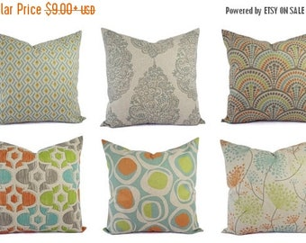15% OFF SALE Decorative Pillow Orange Blue and Beige - Throw Pillow - Green Blue Taupe Pillow - Accent Pillow Covers - Orange Pillows - Gree