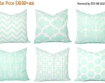 15% OFF SALE Mint Pillow Covers - Mint Green and White Throw Pillows - Decorative Pillows - Mint Euro Sham - Mint Throw Pillow - Mint Lumbar