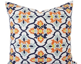 15% OFF SALE Yellow Orange Blue Pillow Cover - Orange Pillow Cover - Floral Decorative Pillow - Orange Throw Pillow - Navy Throw Pillow - Lu