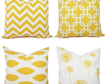 Yellow Couch Pillow Covers - Decorative Pillows - Yellow and White Decorative Throw Pillow - Yellow Euro Sham - Yellow Lumbar Pillow