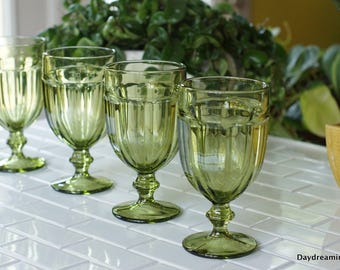 4 Gibraltar Olive Green Goblets Libbey Duratuff Ice Tea Water Glasses