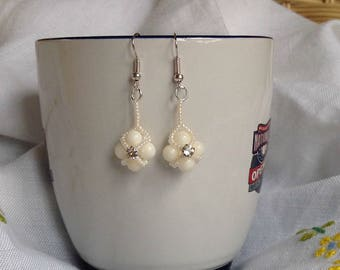 White Coral and Swarovski Crystal Earrings