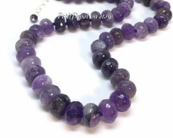 Amethyst Necklace Sterling Silver Amethyst Bead Necklace Natural Stone Chunky Necklace Purple Stone Short Necklace Knotted