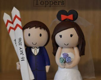 Disney Minnie Ear Bride and Groom with skis - custom made wedding cake toppers