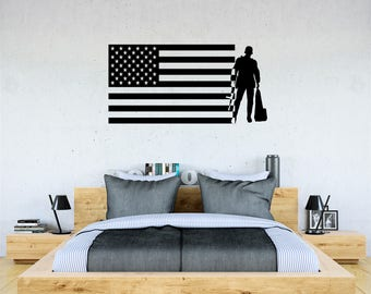 American flag solider  Boys Vinyl Wall Decal  Baby Bedroom Home Decor