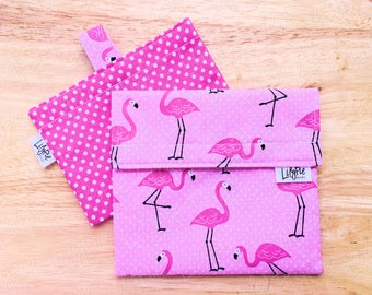 Reusable Sandwich Bag & Reusable Snack Bag in Pink Flamingo and Polka Dots cotton print - Back to School