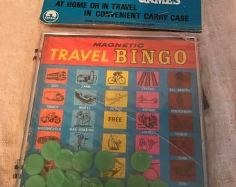 Magnetic Travel Bingo, Hard-shell plastic case with kiss lock closure, Original packaging, a stamp with Sear, Roebuck and Co.