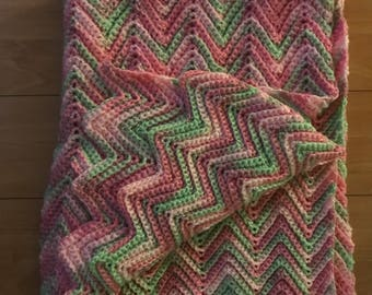 Pink Variegated Ripple Baby Blanket