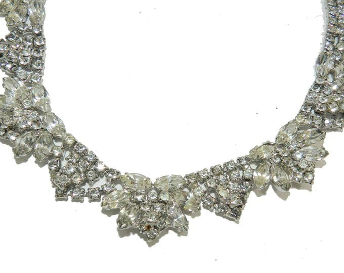 Schreiner? Vintage Dazzling Crystal Clear Rhinestone Glass Bib Necklace Stunning Bridal Statement Necklace Vintage Wedding Jewelry