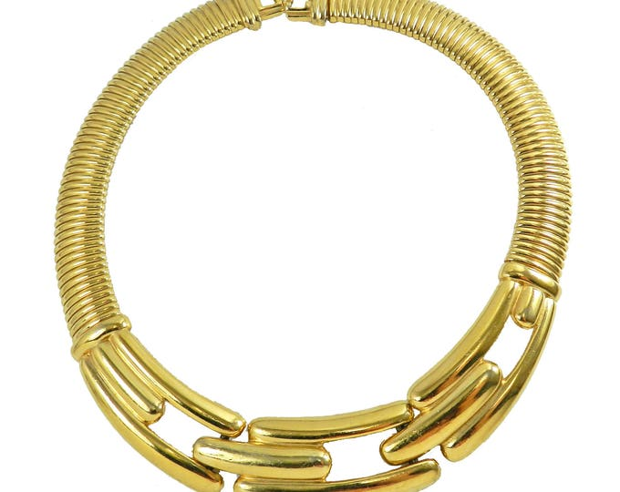 Vintage GIVENCHY Bib Statement Choker Necklace, Gold Plated Flexible Omega Chain Modernist Classic Bold Runway Jewelry Jewellery 1980s 110gr