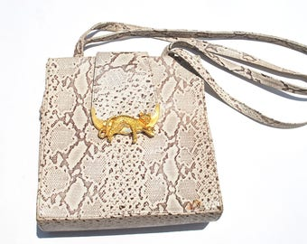 Vintage Purse Handbag 80s Off White Reptile Print Purse Handbag with Cheetah Leopard Gold Metal Hardware