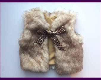Mottled tan/brown/black faux fur vest, made to order, Newborn-5T