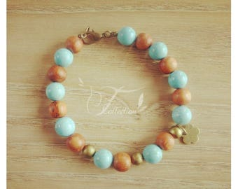 Bayong and turquoise magnesite beaded bracelet