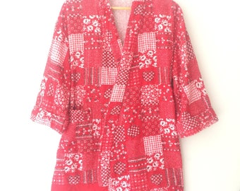 Vintage Terry Cloth Red Western Bandana Kerchief short Robe Kimono Sweater Cardigan Top