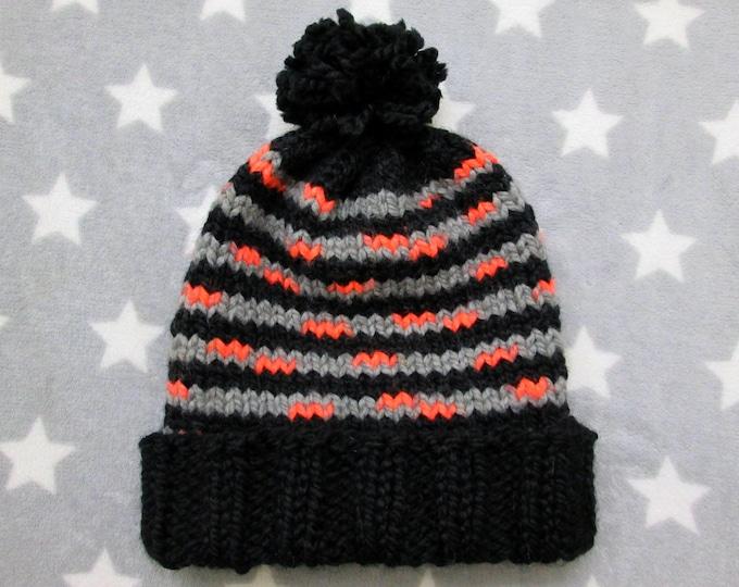 Chunky Knit Hat - Halloween Black Grey Neon Orange Stripes - Hand Knit Slouchy Hat With Pompom