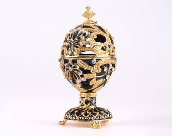 Gold and Black Faberge Egg Trinket Box Collectors Decorated with Swarovski Crystals Easter Egg Home Decor