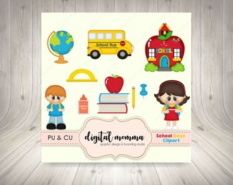 Back To School Clipart, School Clipart, School Bus, School Supplies Clipart, Personal, Commercial Use, Instant Download!