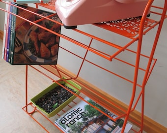 Vintage Mid Century Eames Style Metal Wire Plant Stand Phonograph Record Player Table Magazine Rack Orange