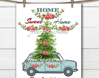 Digital mini cooper with Christmas Tree, Shabby Chic Christmas Download, Christmas Pillow, Christmas Car, Large Transfer Graphic
