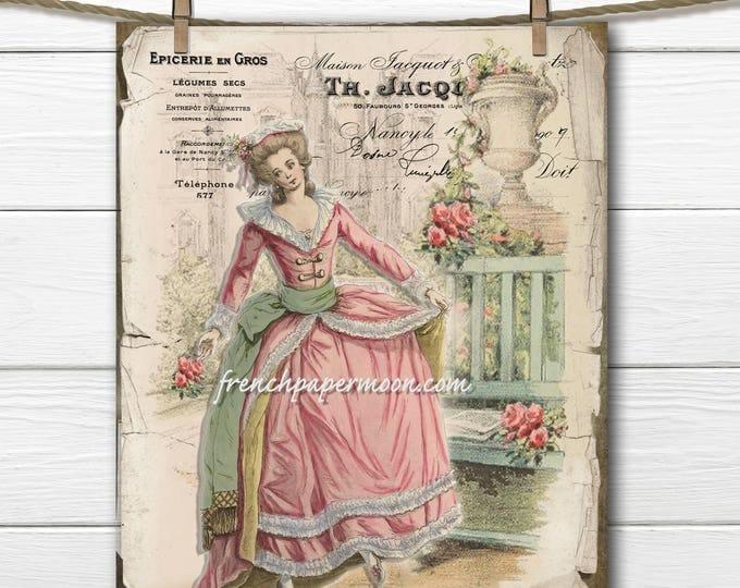 Vintage French Fashion Digital Collage, Marie Antoinette, Edwardian Download, 18th Century French Fashion Digital Sheet