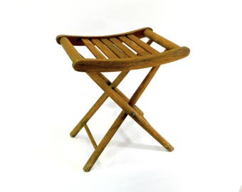 Vintage Folding Wood Stool, Wooden Slatted Portable Seat, Fishing Seat, Cottage Style, Camping, Glamping, Sportsman Gift, Event Seating