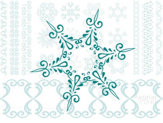 snowflakes digital clipart & matching ribbons - Christmas - winter scrapbooking - download