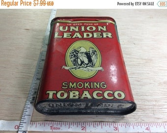 10% OFF 3 day sale Vintage Old Union Leader Smoking Tobacco Tin Used