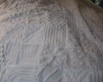 Vintage Chenille Baby Quilt In All Shades Of White