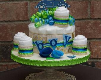 It's a Boy Diaper Cake - Baby Boy Baby Shower Centerpiece - Bug Car Baby Shower Theme - Baby Boy Diaper Cake - Diaper Cake