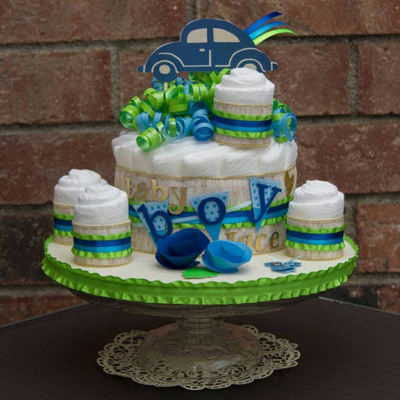 It's a Boy Diaper Cake - Baby Boy Baby Shower Centerpiece - Bug Car Baby Shower Theme - Baby Boy Diaper Cake - Diaper Cake