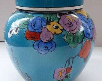 Rare Booths Blue coloured Art Nouveau Ginger Jar & Cover c 1900 – 1910