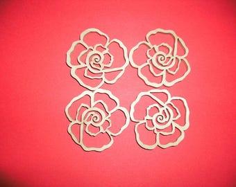 4 roses, wood, 4,3 cm (01-0007B)