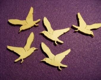5 gulls, wood, 4x3 cm  (10-0018A)