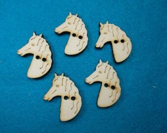 5 buttons, Horse, Wood, 2.5 x 3 cm (15-0017A)