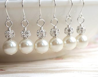 Set of 6 Pairs Earrings Bridesmaid Jewelry Gift 6 Pairs of Bridesmaid Earrings Swarovski Pearl 6 Earrings Bridesmaid Gift Wedding PartyEs037