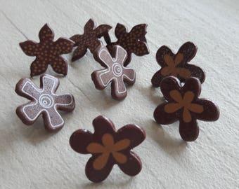 Set of 8 Brads, Brown flowers